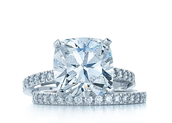 Cushion Solitaire Diamond Engagement Ring with Diamond Shank