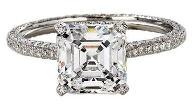 Princess Diamond Solitaire Engagement ring with Full Rounded Shank