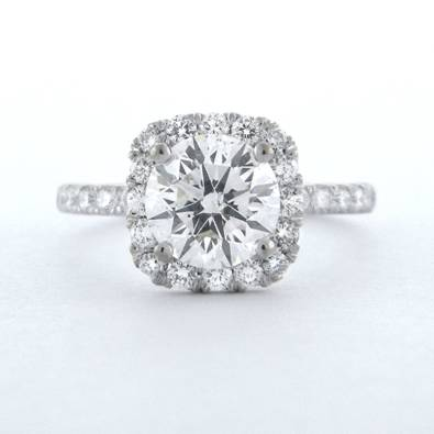 Round Diamond with Halo and Diamond Shank Engagement RIng