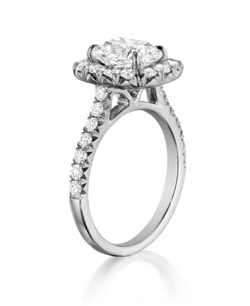 Round Diamond Halo Engagement Band with 1/2 shank