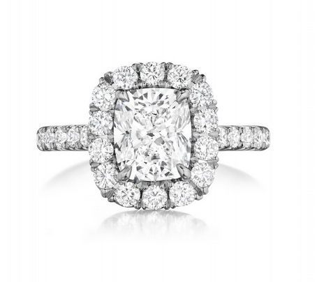 Princess Diamond Halo and Diamond Shank Engagement Ring